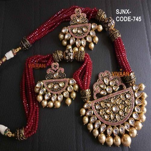 Traditional Maroon Color Kundan Necklace Set