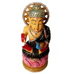 Wooden Painted Kiran Buddha With Stone Work