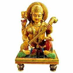 Hand Made Wooden Chowki Saraswati Statue