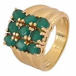 Emerald Gemstone Brass Rings