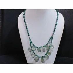 Green Amethyst and Aventurine Gemstone Beaded Necklace