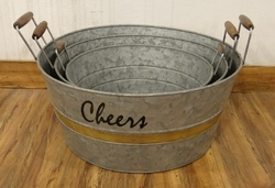 Galvanised Bucket With Handles, Set Of 3