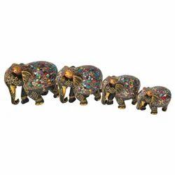 Wooden Embossed Stone Elephant Set