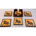 Hand Painted Wooden Coaster Set