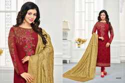Maroon & Gold Georgette Embroidered Salwar Suit With Banarasi Dupatta