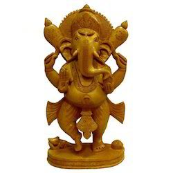 Natural Wooden Carving Standing Ganesha Statue