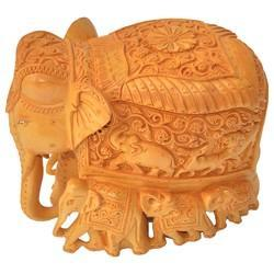 Wooden Baby Elephant With Carving Wood