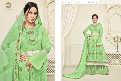 480be565ee Mahaveer Fashion Dress - Green Georgette Printed Women s Sharara Suit  Manufacturer from Surat