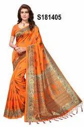 Kalamkari Mysore Silk Saree With Jhalor