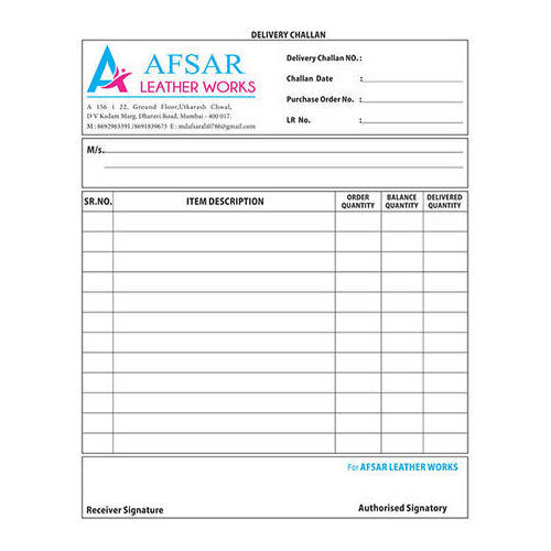 printed delivery challan form manufacturer from mumbai