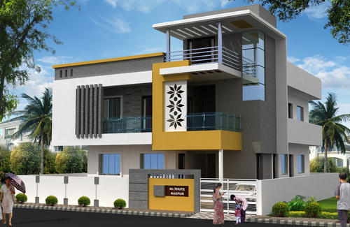 Ground Floor Modern Elevation : Exterior interior d view service design