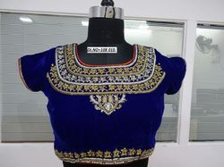 Blue Velvet Embroidered Stitched Blouse