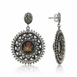 Lord Ganesha Inlay Silver Stud Earrings