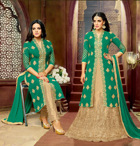 Green Colored Semi Stitched Suit