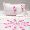 Chikan Embroidered Bed Sheet Applique