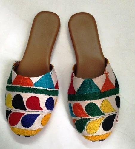 9570e4080c62 Kutchiwork Handmade Embroidery Designer Half Bally Shoe Sandal For Ladies