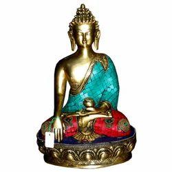 Brass Buddha Statue With Stone Work