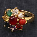 Navratna Small Flower Ring For Womens