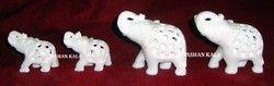 Marble Undercut Elephant Statue