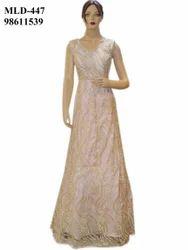 Designer Net Light Pink Fluffy Long Dress Gown