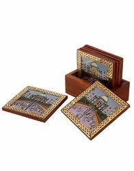 Gemstone Painted Carved Table Coaster Set