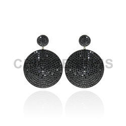 Black Spinal Round Disk Earrings