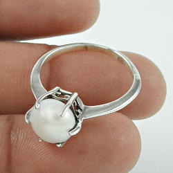 Lovable Pearl Gemstone 925 Sterling Silver Ring