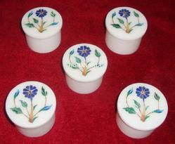Decorative Marble Inlay Pill Boxes