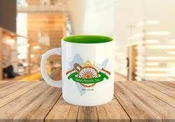 Logo Print White Two Tone Coffee Mugs
