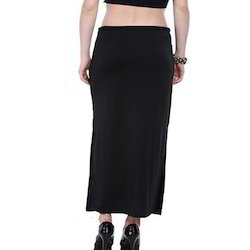 Ira-Soleil-Black-Long-Skirt-With-Gold-Printed-Waist-Band