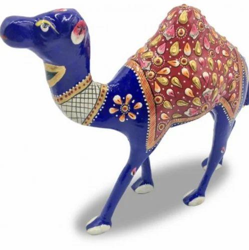 Animal Metal Statues Camel Rajasthan Handmade And Colored In Metal