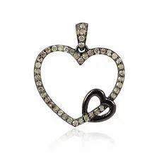 Heart Shaped Diamond Charm Pendant