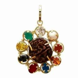 Navratana Pendant 5 Face Original Rudaraksha Gold Rhodium Plated Fashion Locket