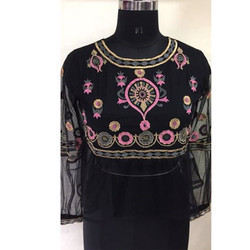 Ladies Black Transparent Printed Top