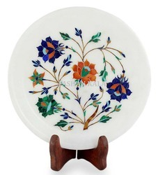 Round Marble Inlay Decorative Plate