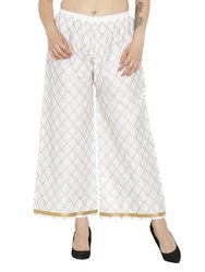 Party Wear Chikan Embroidery Palazzo Pants For Woman