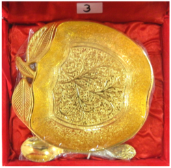 Gold Plated Apple Bowl With Spoon