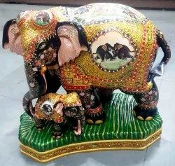 Wooden Elephant with Gold Painted Work