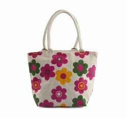 Jute Small Floral Print Bag