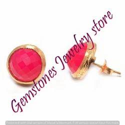 Fuchsia Chalcedony Gemstone Ear Stud