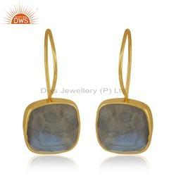 Natural Labradorite Gemstone Gold Plated Silver Womens Ring Jewelry