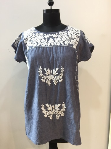 Chambray Top With Hand Embroidery