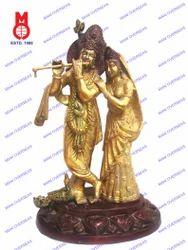 Lord Radha Krishna Standing On Oval Lotus Base Statue
