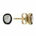 925 Sterling Silver Diamond Inlay Stud Earrings