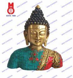 Buddha Bust W/Leaf Design & Stones & Wire Beed Statue