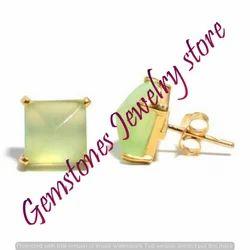 Sea Green Chalcedony Gemstone Ear Stud