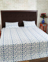 Double Bed Cotton Blue Sea Green Floral Print Bed Sheets
