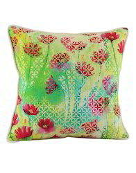 Digital Printed Pink And Green Floral Cotton Cushion Cover