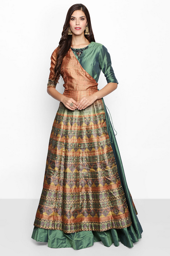 69df9155ad Women Gowns - Flyrobe Green   Brown Printed Ethnic Gown Ecommerce ...