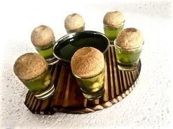 Pine Wood Round Snacks Service Dish w Shot Glass & Bowl
